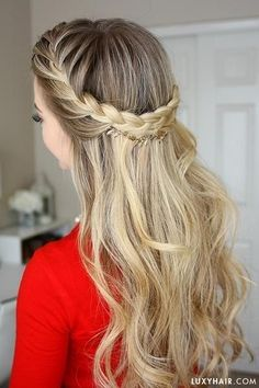 French Braid Crown Holiday Hairstyle by Luxy Hair French Braid Crown Holiday Ha. French Braid Crown Holiday Hairstyle by Luxy Hair French Braid Crown Holiday Hairstyle by Luxy Hair This image has ge Braided Crown Hairstyles, Girl Hairstyles, Wedding Hairstyles, Hairstyle Braid, French Hairstyles, Hairstyle Ideas, Hairstyles Pictures, Hairstyles 2018, Formal Hairstyles Down