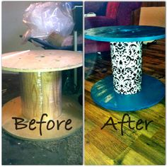 My first Pinterest project! A wire spool turned end table for my daughter's room. I have a bigger one and am planning a coffee table/ottoman...can't wait!