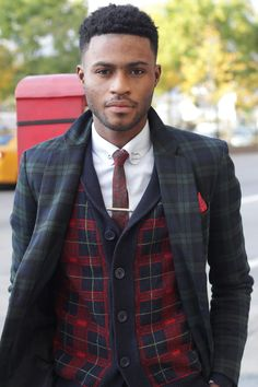 Tie: thrift. Jacket: Ben Sherman. Vest Sweater: TopShop. Abdul, 21, Lives in New York City. instagram @KIng_GQ submitted: (http://brandon-appiah.tumblr.com/)