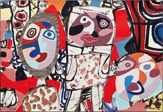 View Le malentendu By Jean Dubuffet; acrylic on collaged canvas-backed paper mounted on canvas; 27 x 40 in. x cm. Access more artwork lots and estimated & realized auction prices on MutualArt. Bad Painting, Jean Dubuffet, Art Du Monde, Art Populaire, Art Brut, Science Fiction Art, London Art, Naive Art, Global Art
