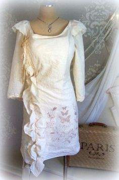 Muslin Wrap Dress PAPILLON unbleached hand painted by tamilyn, $86.00