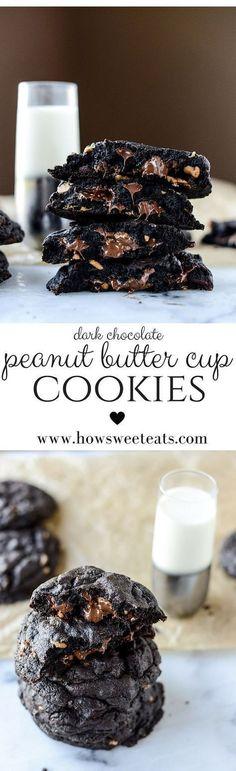 Dark Chocolate Peanut Butter Cup Cookies Recipe - perfect for the chocolate & peanut butter fans! #darkchocolate #peanutbutter