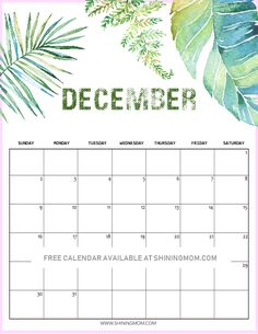 Free Printable December 2018 Calendars By Month Printable December Calendar, Monthly Calendar 2018, Today Calendar, Planning Calendar, Free Calendar, Calendar Pages, Planner Free, 2018 Planner, Printable Planner