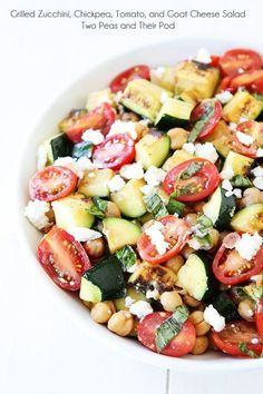 Grilled Zucchini, Chickpea, Tomato, and Goat Cheese Salad Recipe on http://twopeasandtheirpod.com Love this simple summer salad! #salad