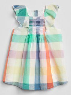 a91f2425d92 Gap Baby Plaid Flutter Dress New Off White
