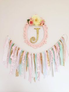 pink, mint and gold nursery | Name initial | You and me and baby B blog