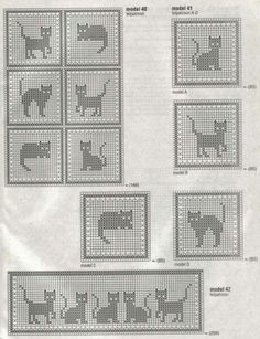 """FILET CROCHET Filet in French simply means 'net or a mesh"""". So filet crochet is Crochet patterns made in a net or a grid. It uses just 3 basic stitches like the chain stitch, the doubl… Filet Crochet, Chat Crochet, Crochet Cross, Crochet Chart, Thread Crochet, Crochet Motif, Crochet Stitches, Knitting Charts, Knitting Patterns"""