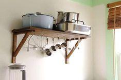 Clever Storage: Undershelf Hooks for KitchenAid Attachments and More — Miss Treats Under Cabinet Storage, Diy Kitchen Storage, Kitchen Shelves, Kitchen Organization, Barn Kitchen, Rental Kitchen, Kitchen Tips, Measuring Cup Storage, Hanging Storage