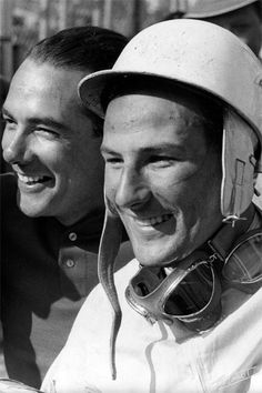 Stirling Moss, #7, (finished 2nd) & teammate Jean Behra, Maserati, #6, (finished 3rd), German GP, Nurburgring, 1956.