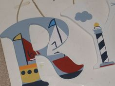 Nautical Wall Letters - Custom - Hand Painted -Baby Boats - Nursery Letters. $12.00, via Etsy.