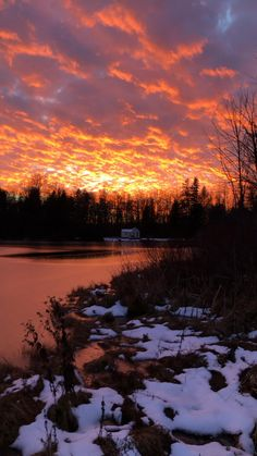 Perfect winter sunset in Ontario