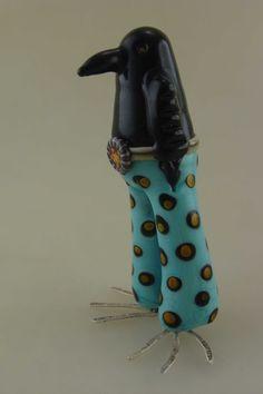 Hippy Chick sculpture- Midnight. by Jennifer Geldard