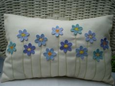 Sewing Pillows Items similar to Decorative Pillow - Turquoise and Blue Felt Flower Bouquet, Stitched Stems, Rectangular on Etsy - Felt Cushion, Felt Pillow, Quilted Pillow, Felt Flower Pillow, Patchwork Pillow, Applique Cushions, Crochet Cushions, Sewing Pillows, Cute Pillows