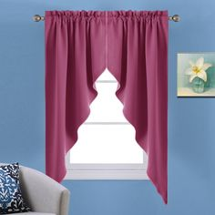 Nicetown Blackout Rod Pocket Kitchen Tier Curtains- Tailored Scalloped Valance /Swags for Girls' Room