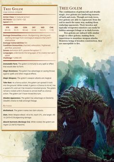 ImaginaryStatblocks | Tree Golem:
