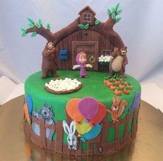 Masha and the bear cake Birthday Cake Models, Baby Birthday Cakes, Bear Birthday, 6th Birthday Parties, Masha Cake, Masha Et Mishka, Marsha And The Bear, House Cake, Bear Party