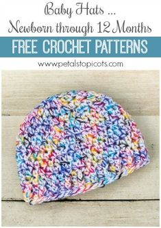 Make these patterns your go to for baby gifts charity drives and all the little babes in your life written to fit babies from birth through their first year Click over for the free crochet patterns petalstopicots Crochet Baby Hats Free Pattern, Bonnet Crochet, Crochet Baby Blanket Beginner, Crochet Baby Hat Patterns, Crochet Baby Beanie, Crocheted Baby Hats, Baby Patterns, Crochet Gratis, Free Crochet