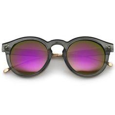 645685369f Round Horn Smoke   Purple Mirror Sunglasses