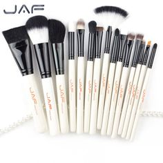 JAF 15pcs/set Portable Size Women Facial Makeup Brushes Set Wooden Handle Facial Cosmetic Blush Foundation Brushes Tool J1503M-W #Affiliate