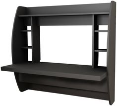 Prepac Wall Mount Desk with Storage, Black
