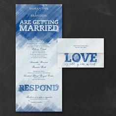 Blue and White Wedding Ideas - Watercolor Love - Seal 'n Send Invitation - Midnight  | Occasions In Print (Invitation Link - http://occasionsinprint.carlsoncraft.com/Wedding/Wedding-Invitations/3254-TWS38268NV-Watercolor-Love--Seal-n-Send-Invitation--Midnight.pro)