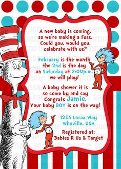 Dr Suess Cat in the Hat Baby Shower Invitation $11