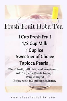 I'm just learning about Bubble Tea or Boba Tea. If you don't like tea you can make your own Bubble Tea with fresh fruit. Milk Tea Recipes, Fruit Juice Recipes, Detox Recipes, Drink Recipes, Detox Foods, Fun Recipes, Coffee Recipes, Healthy Recipes, Bubble Tea Straws