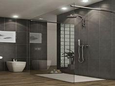 Modern Bathroom Shower Tile: Bathroom Remodeling: Choosing A New Shower Stall Grey Bathrooms Designs, Bathroom Tile Designs, Bathroom Interior Design, Bathroom Ideas, Shower Ideas, Spa Bathrooms, Bathroom Photos, Bathroom Showers, Bathroom Remodeling