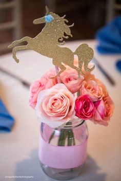 Unicorn Centerpiece Ideas Baby Unicorn Themed First Birthday Party On Pretty My Party Unicorn Birthday Party Decoration Ideas