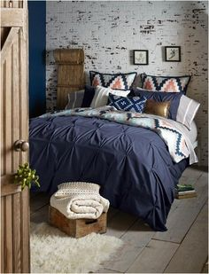 Love these sheets with the navy comforter. Blissliving Home Harper Navy Duvet Set, Queen