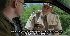 Love this movie! 'Do I look like a cat to you boy? Do you see me jumping around all nimbly pimbly from tree to tree? Do you see me drinking milk from a saucer? NOW DO YOU SEE ME EATING MICE? Super Troopers Meow, Super Troopers Quotes, Tv Quotes, Movie Quotes, Like A Cat, About Time Movie, Just For Laughs, Cat Lady, Good Movies