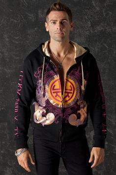 Chinese Dragon Men Hoodie Glam Rock Clothing Urban Chic sold by Charles King Paris. Shop more products from Charles King Paris on Storenvy, the home of independent small businesses all over the world. Dragon Hoodie, Oriental Print, Unique Hoodies, Rock Outfits, Chinese Dragon, Urban Chic, Glam Rock, Satin