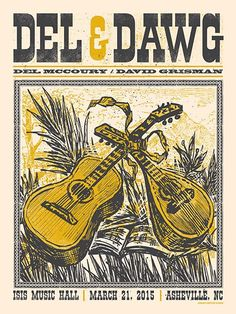 Del McCoury and David Grisman Concert Poster (Del and Dawg) Asheville NC