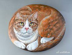 Роспись по камню: Кот Персиваль. DS ArtStone HAND PAINTED ROCK