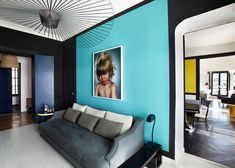 Blue Color Decoration Ideas for Living Room. Torquoise accent wall with the photo