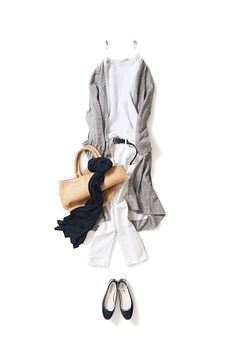 all white + long gray sweater, black accessories, neutral tote