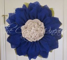 """Extra Large Burlap Sunflower Wreath, 30"""" Royal Blue Sunflower, Spring Wreath, Summer Wreath, Customizable Wreath, Trendy Sunflower Wreath - pinned by http://pin4etsy.com"""