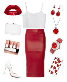 """red and white"" by xxfrozengirlxx on Polyvore featuring Zero + Maria Cornejo, Monki, Gianvito Rossi, Rocio, Bling Jewelry, Chaps, Bertha and Casetify"