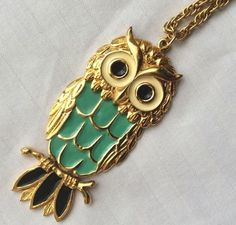 "Necklace Large Owl 3"" Pendant Enamel Gold Tone Reticulated Triple Link 24 inch long chain, 3 inch long pendant"