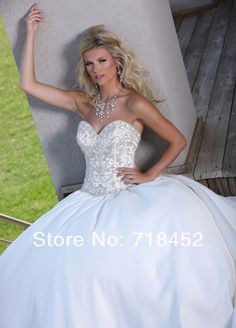 >> Click to Buy << 2014 Ball Gown Wedding Dresses Embroidery Beaded Satin Vestidos De Novia Sweetheart Bridal Gowns Free Shipping NW1300 #Affiliate