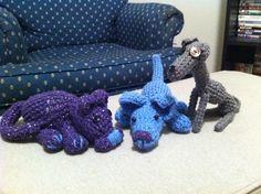 Crochet kitten, puppy, and Wall-E the Italian greyhound