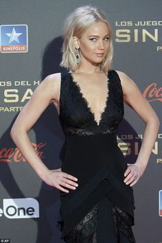 Daring neckline: After covering up for the Paris premiere on Monday Jennifer, 25, was back to her racy best for the next red carpet in Spain