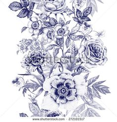 Vector seamless pattern. Rose, peony, carnations, pansies. Design for fabrics, textiles, paper, wallpaper, web. Vintage. Floral ornament. Black and white.