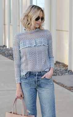 finding the right boyfriend jeans - lace top, boyfriend jeans, nude accessories