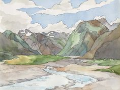 En plein aire watercolor of the mountains of the South Island, New Zealand.
