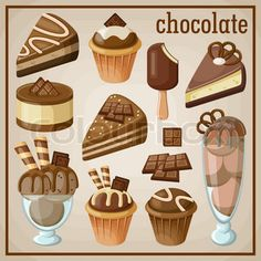 Set of sweets and chocolate. vector illustration