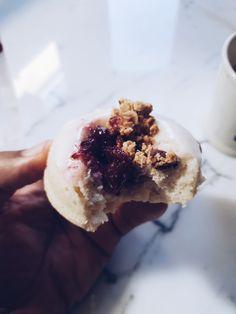 Cherry crumble donut/ doughnut. Completely gluten/ soya free and vegan. @borough22