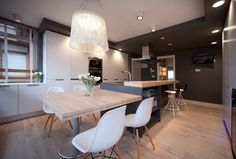 Contemporary kitchen in residential property in BILBAO. hanging light Proj… - All For Decoration Kitchen Island For Dining, Modern Kitchen Island, Kitchen Benches, Modern Kitchen Cabinets, Kitchen Contemporary, Home Decor Kitchen, Interior Design Kitchen, New Kitchen, Home Kitchens