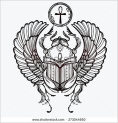 Hand-drawn vintage tattoo art Vector illustration, symbol of pharaoh, Resurrection element of life ancient Egypt, linear style Scarab beetle, god sun Ra, wings and ankh Isolated White background - Shutterstock