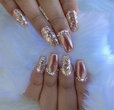 Rose+Gold+Chrome+with+Fine+Glitter+by+Nailartbyjudy+-+Nail+Art+Gallery+nailartga. Gold Chrome Nails, Chrome Nails Designs, Gold Nail Art, Gold Glitter Nails, Rose Gold Nails, Diamond Nails, Gold Coffin Nails, Diamond Nail Designs, Gold Nail Designs